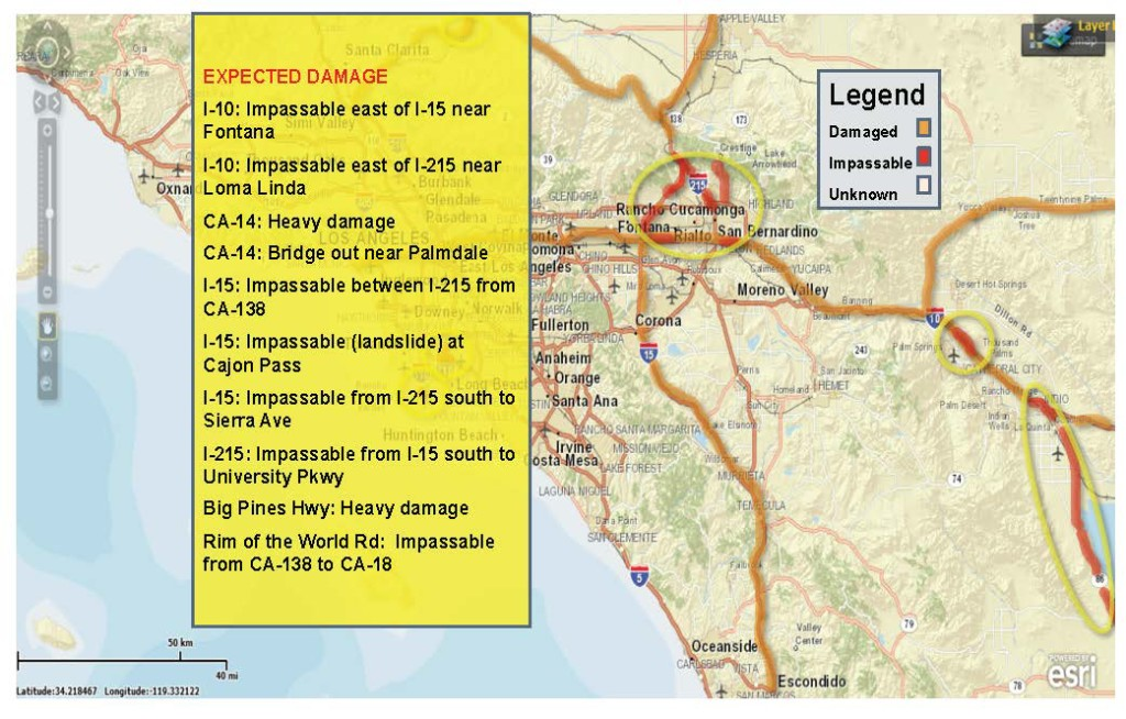 Map and list of earthquake impacts for Clearinghouse participation in Vigilant Guard 17 Exercise